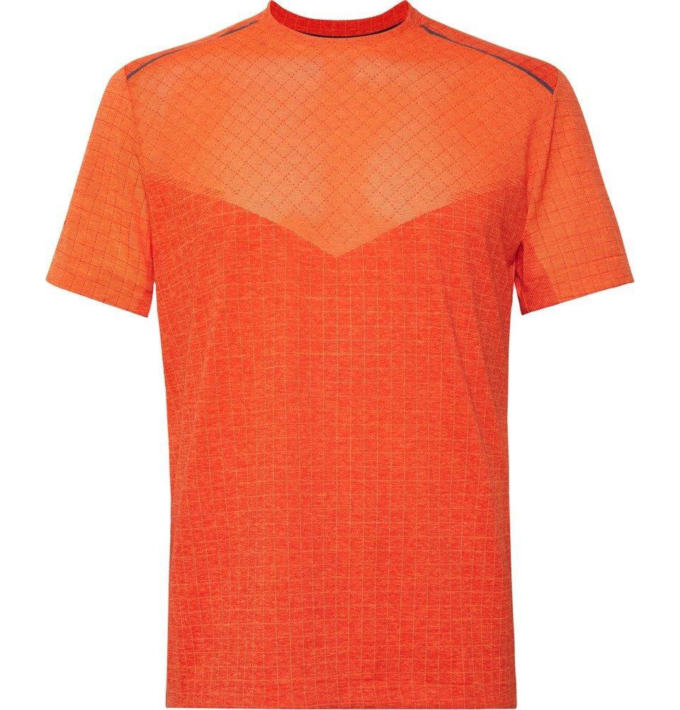 Photo: Nike Running - Tech Pack Stretch Jacquard-Knit Running T-Shirt - Bright orange