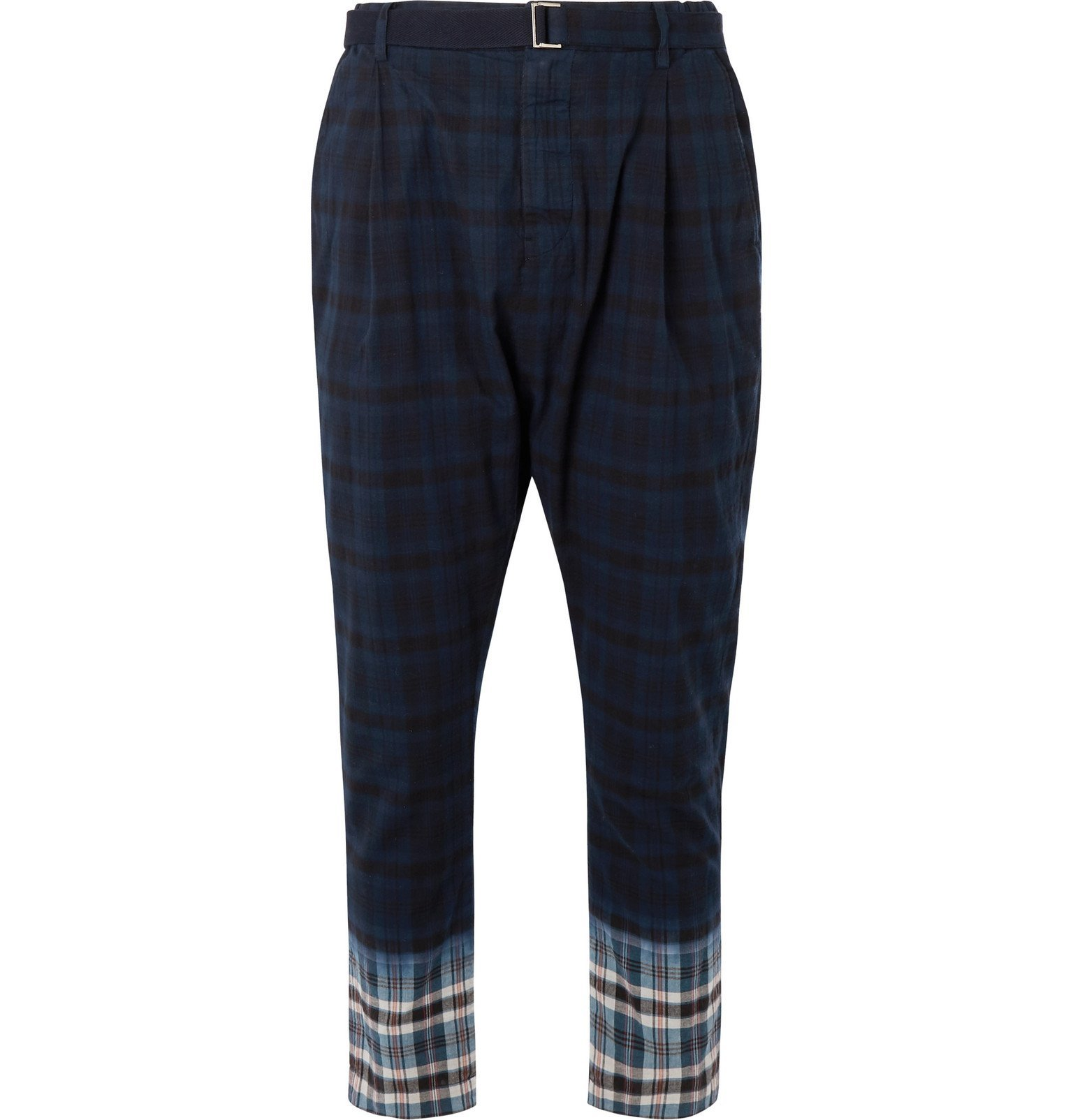 Sacai - Belted Pleated Checked Madras Cotton Trousers - Blue