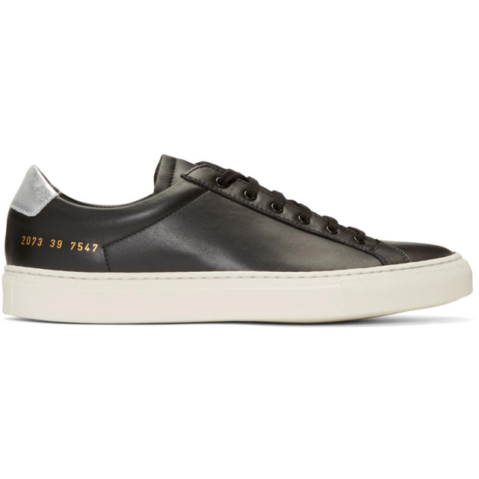 Common Projects Black and Silver Achilles Retro Low Sneakers