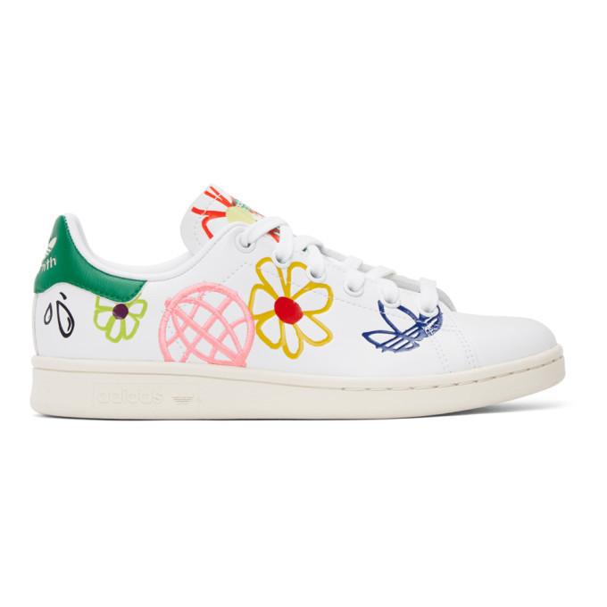 adidas Originals White Doodle Stan Smith Sneakers