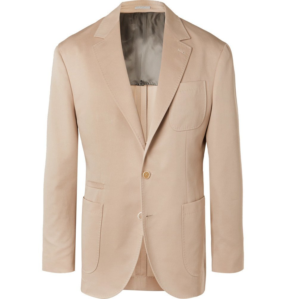 Photo: Brunello Cucinelli - Beige Wool and Cotton-Blend Suit Jacket - Beige