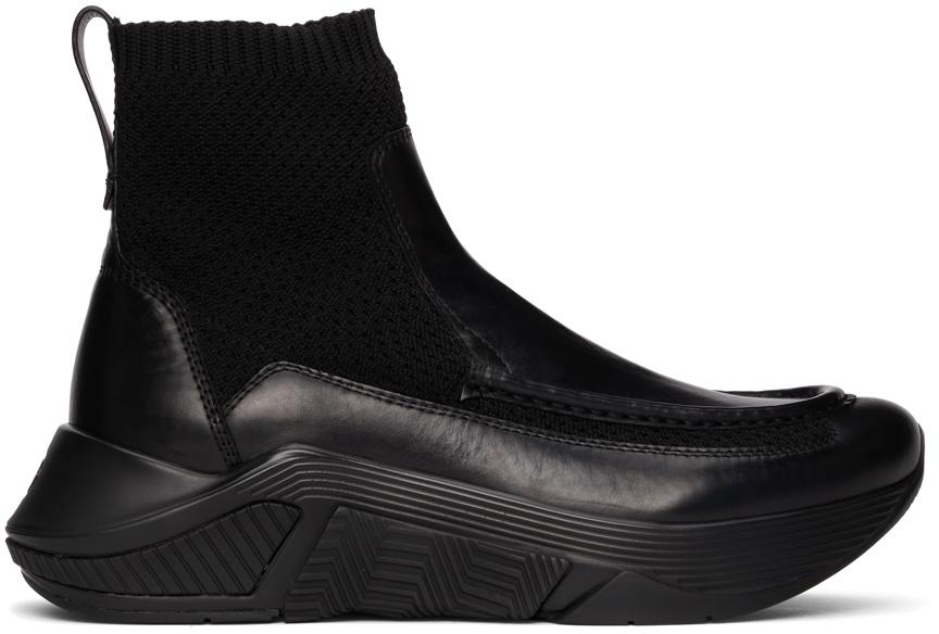 Photo: Giorgio Armani Black Paneled Chunky-Soled High-Top Sneakers