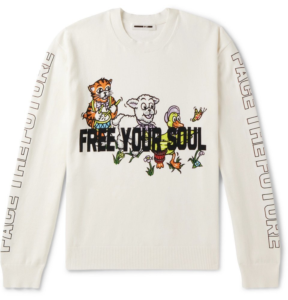 Photo: McQ Alexander McQueen - Printed Stretch-Cotton Blend Sweater - White