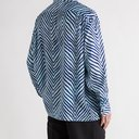 ACNE STUDIOS - Saipen Oversized Zebra-Print Satin Shirt - Blue