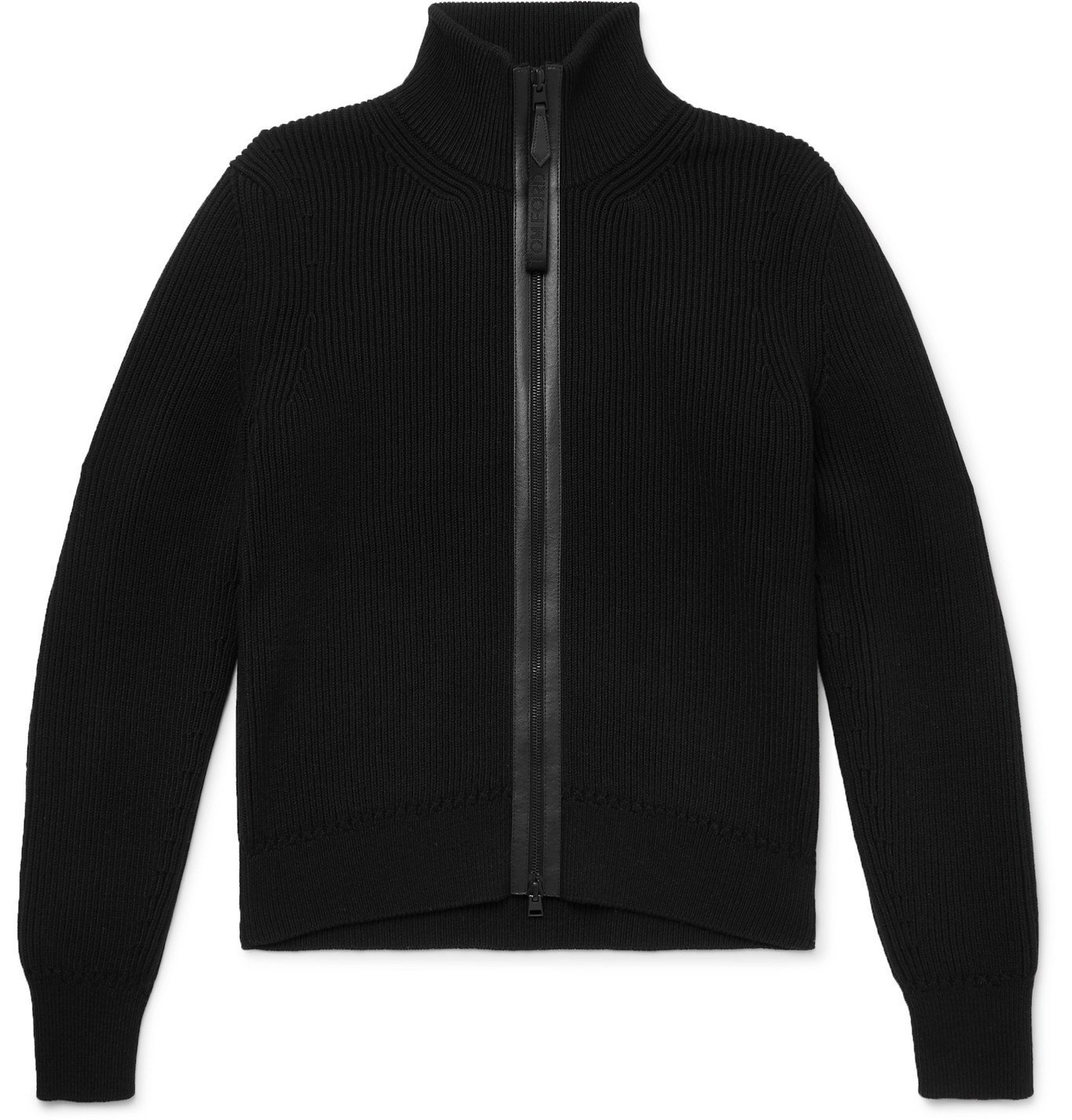 Photo: TOM FORD - Leather-Trimmed Ribbed Wool and Cashmere-Blend Zip-Up Cardigan - Black