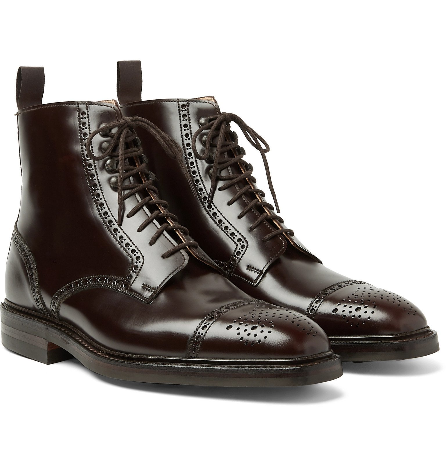 Photo: George Cleverley - Toby Polished-Leather Brogue Boots - Brown