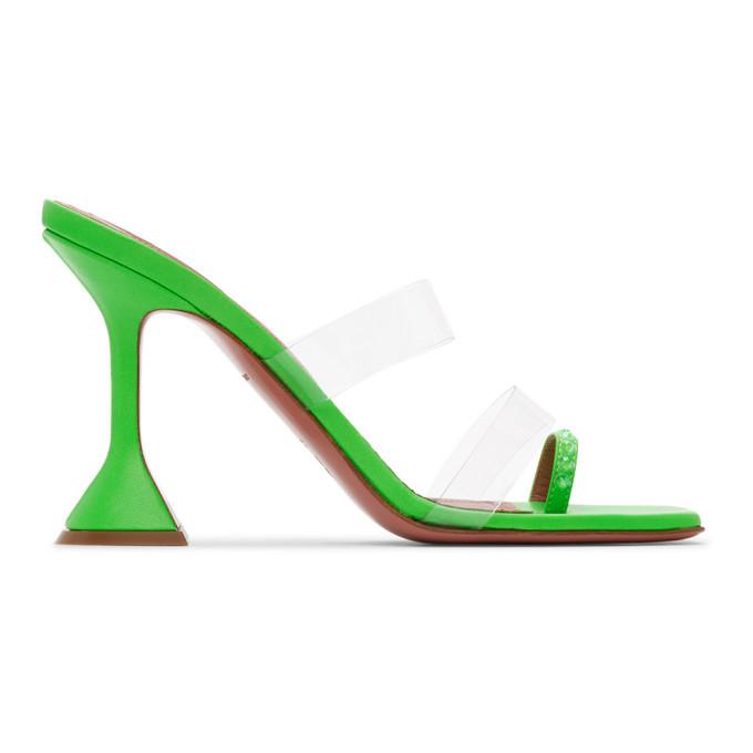 Amina Muaddi Green Sami Heeled Sandals