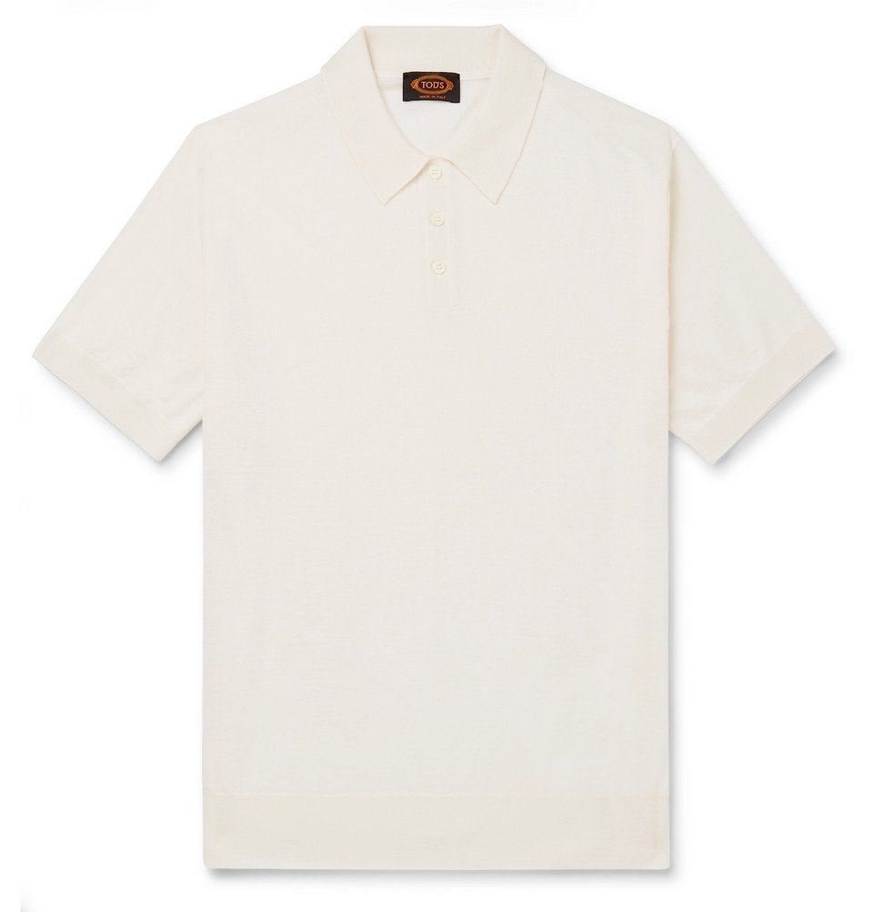 Photo: Tod's - Merino Wool and Silk-Blend Polo Shirt - Cream