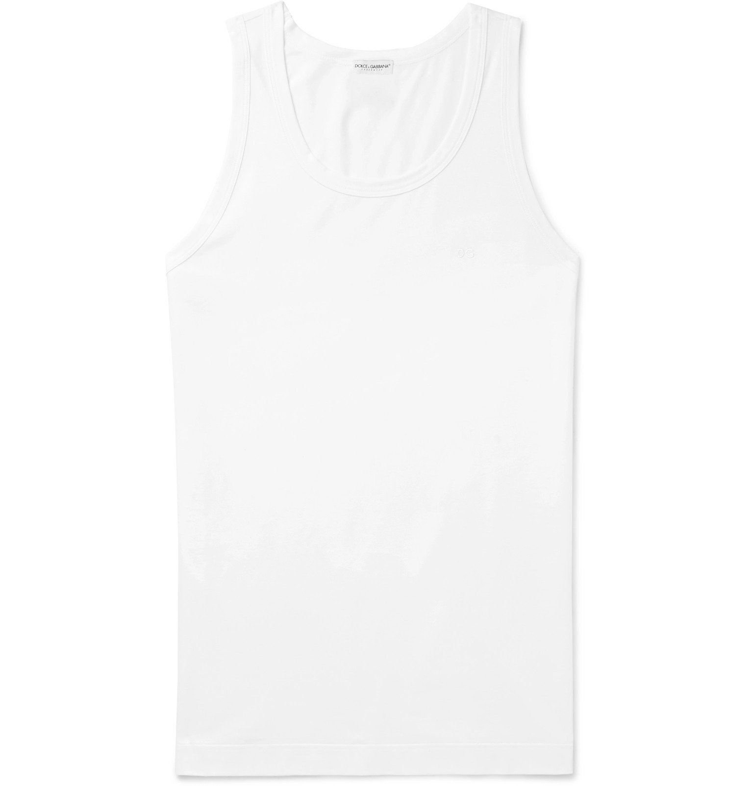 Photo: Dolce & Gabbana - Slim-Fit Stretch-Cotton Jersey Tank Top - White