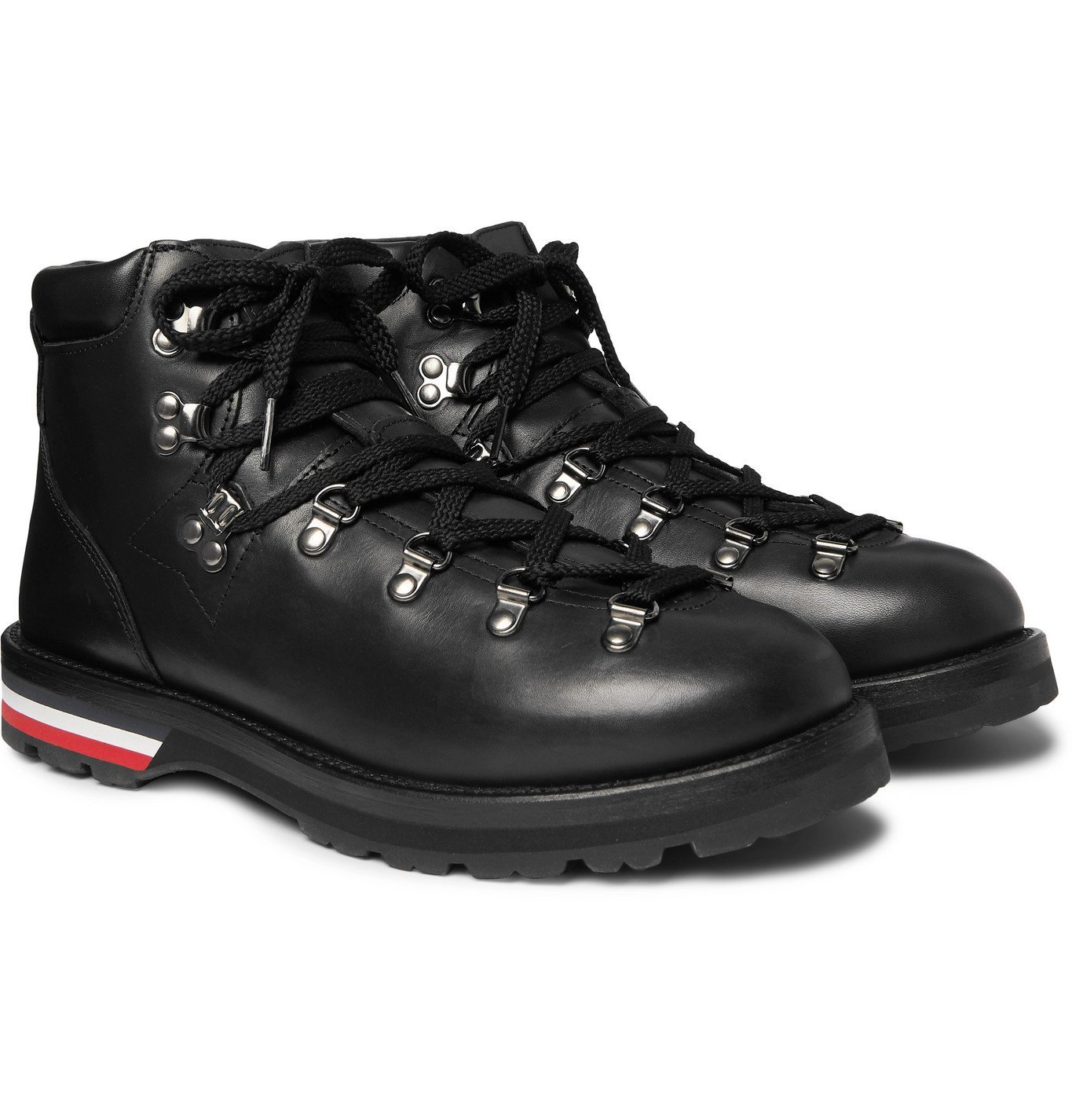 Photo: Moncler - Striped Full-Grain Leather Boots - Black