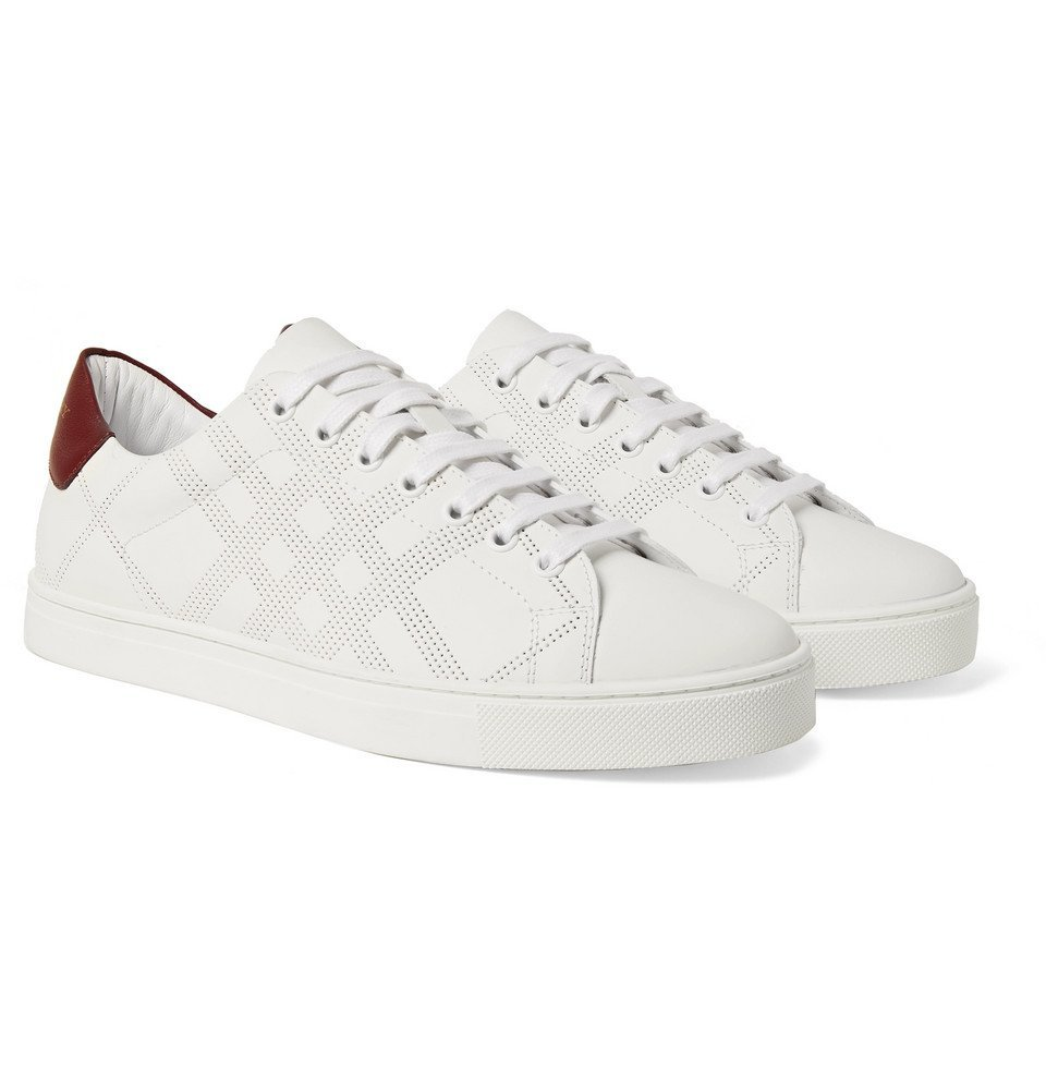 Photo: Burberry - Perforated Leather Sneakers - Men - White
