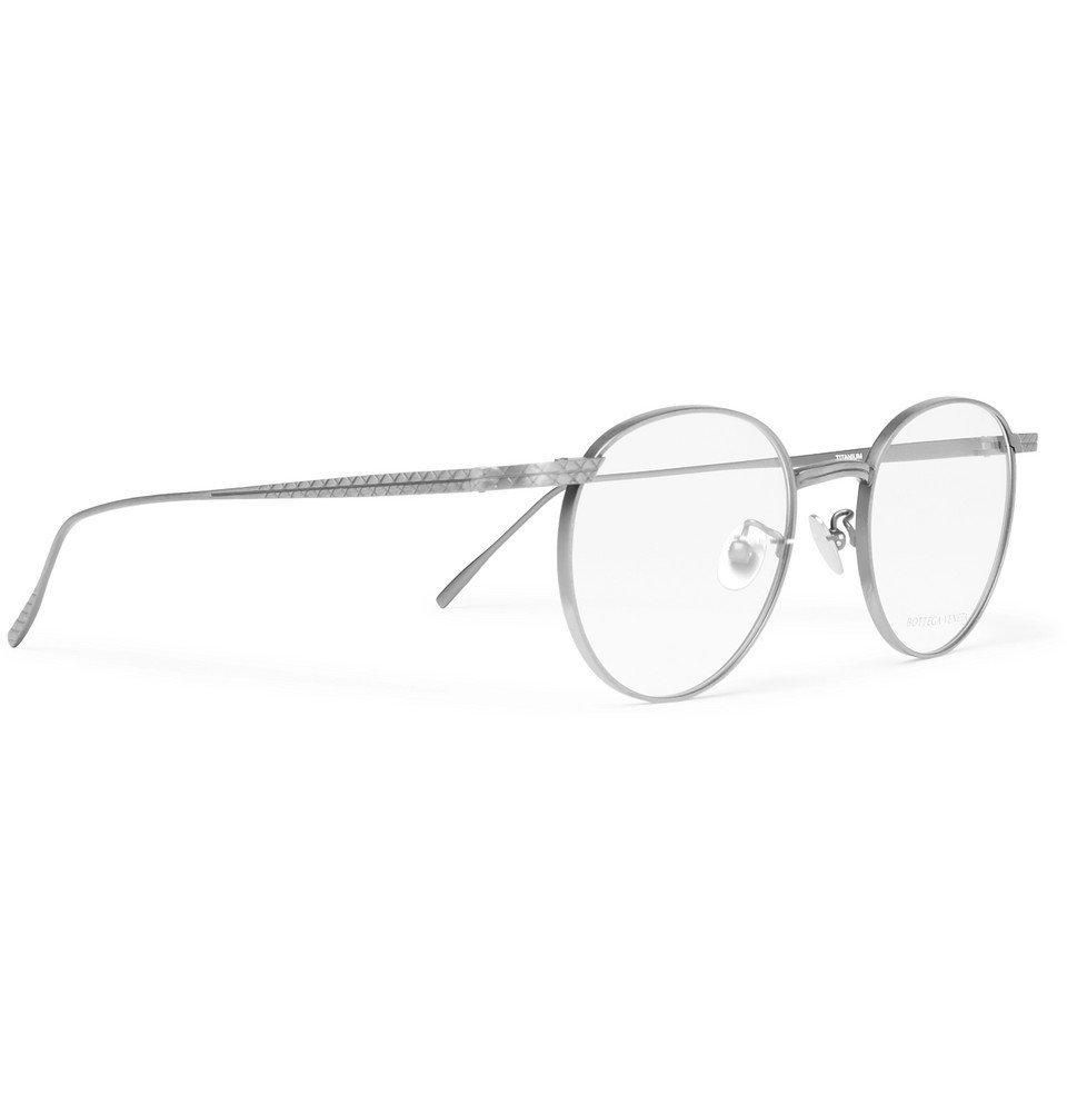 Bottega Veneta - Round-Frame Titanium Optical Glasses - Silver