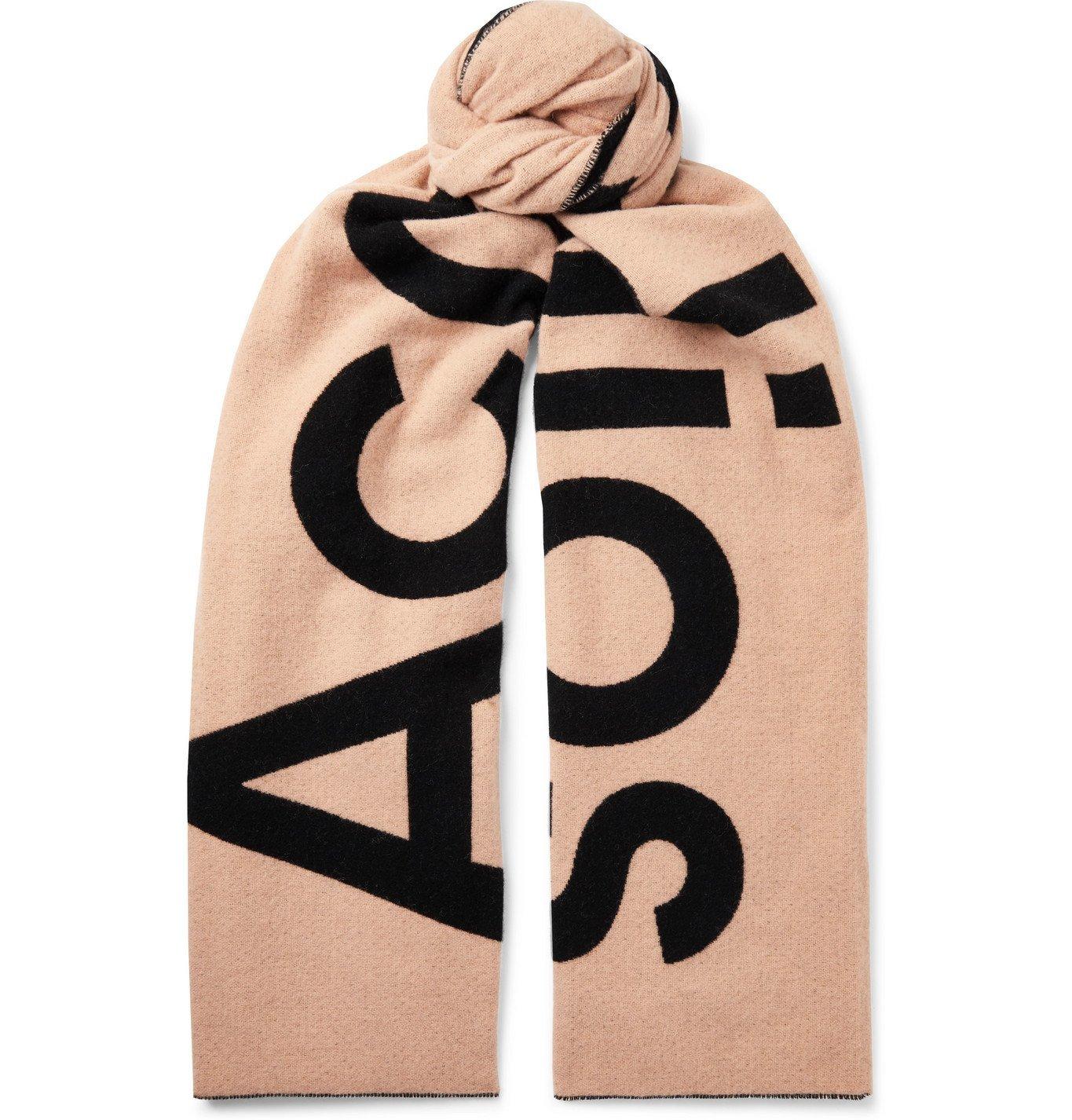 Photo: Acne Studios - Logo-Intarsia Wool-Blend Scarf - Pink