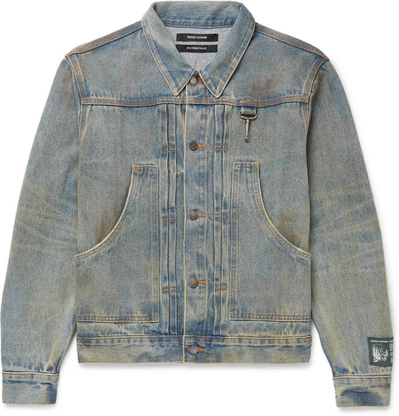 Photo: Reese Cooper® - Logo-Appliquéd Distressed Denim Jacket - Blue