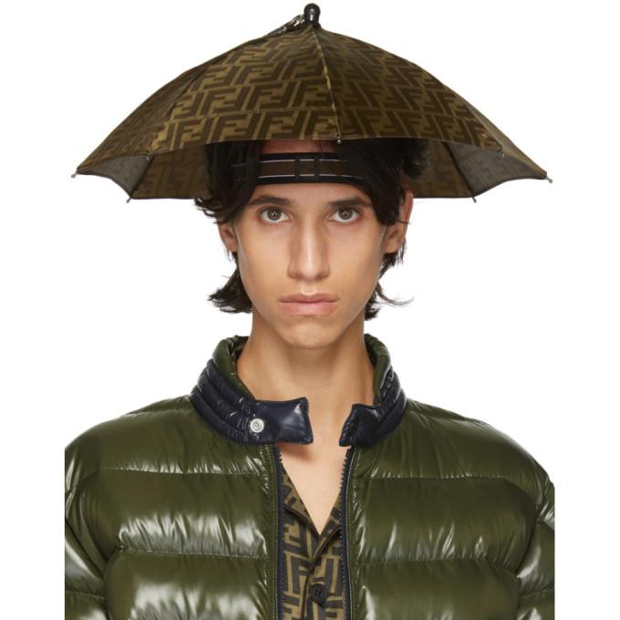 Photo: Fendi Tan and Brown Forever Fendi Umbrella Hat