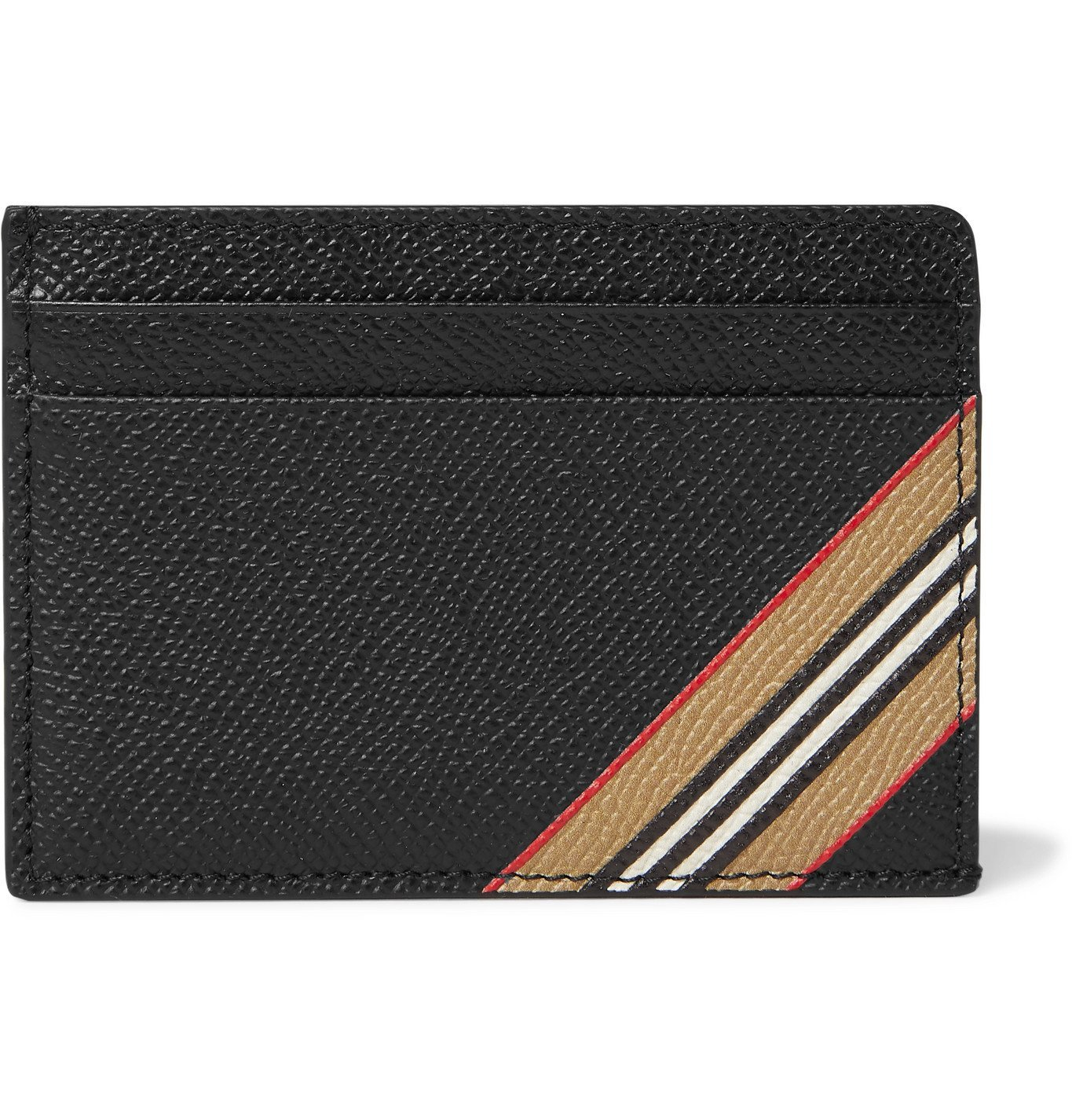 Photo: Burberry - Striped Full-Grain Leather Cardholder - Black