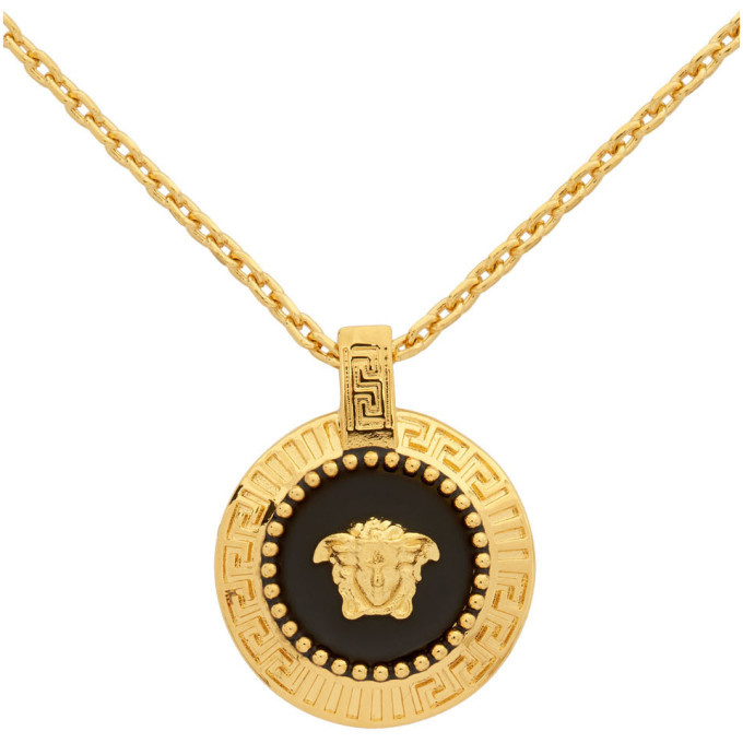 Versace Gold Round Medusa Pendant Necklace