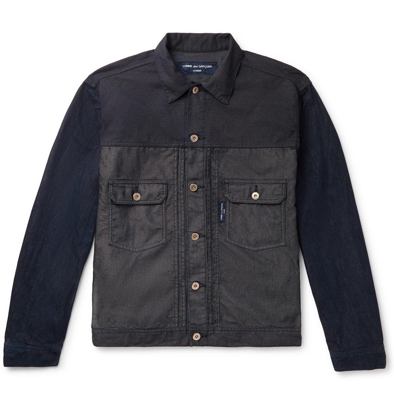 Photo: Comme des Garçons HOMME - Garment-Dyed Panelled Denim Trucker Jacket - Blue