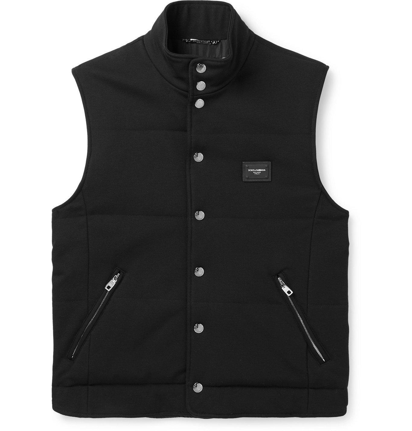 Photo: Dolce & Gabbana - Slim-Fit Logo-Appliquéd Padded Jersey Gilet - Black