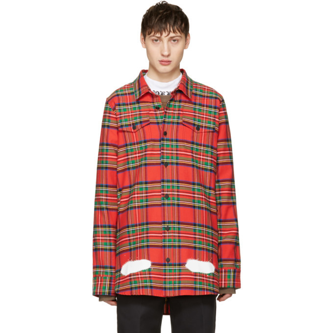 Photo: Off-White Red Check Diagonal Spray Shirt