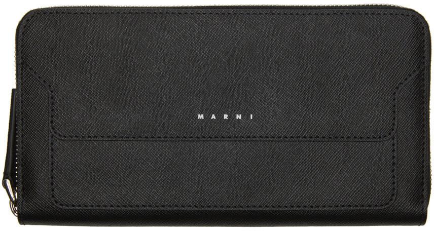 Photo: Marni Black Saffiano Leather Long Zip Wallet