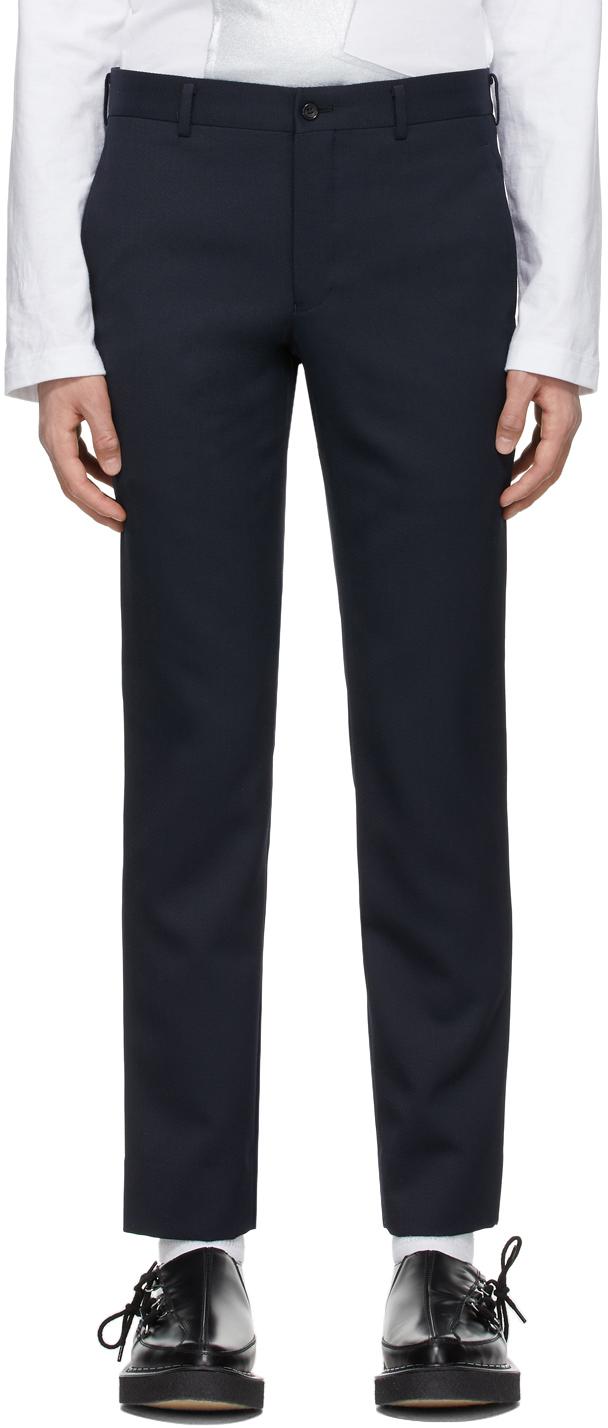 Photo: Comme des Garçons Homme Plus Navy Wool Twill Trousers