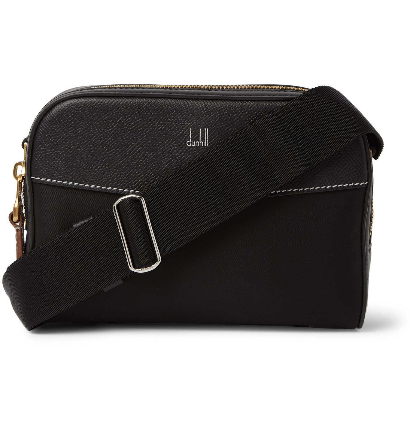 Photo: Dunhill - Full-Grain Leather-Trimmed Nylon-Canvas Messenger Bag - Black