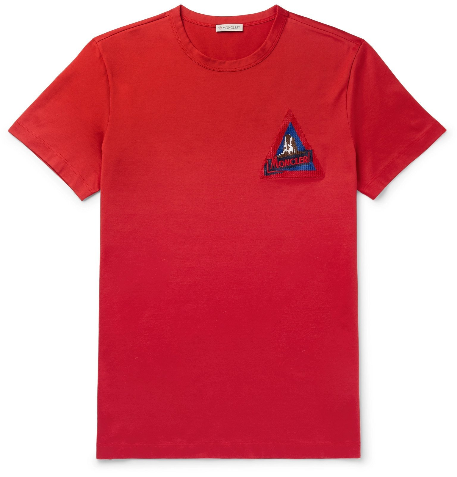 Photo: Moncler - Logo-Appliquéd Cotton-Jersey T-Shirt - Red
