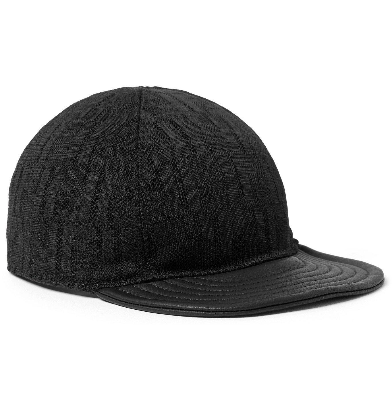 Photo: Fendi - Leather-Trimmed Logo-Jacquard Mesh Baseball Cap - Black
