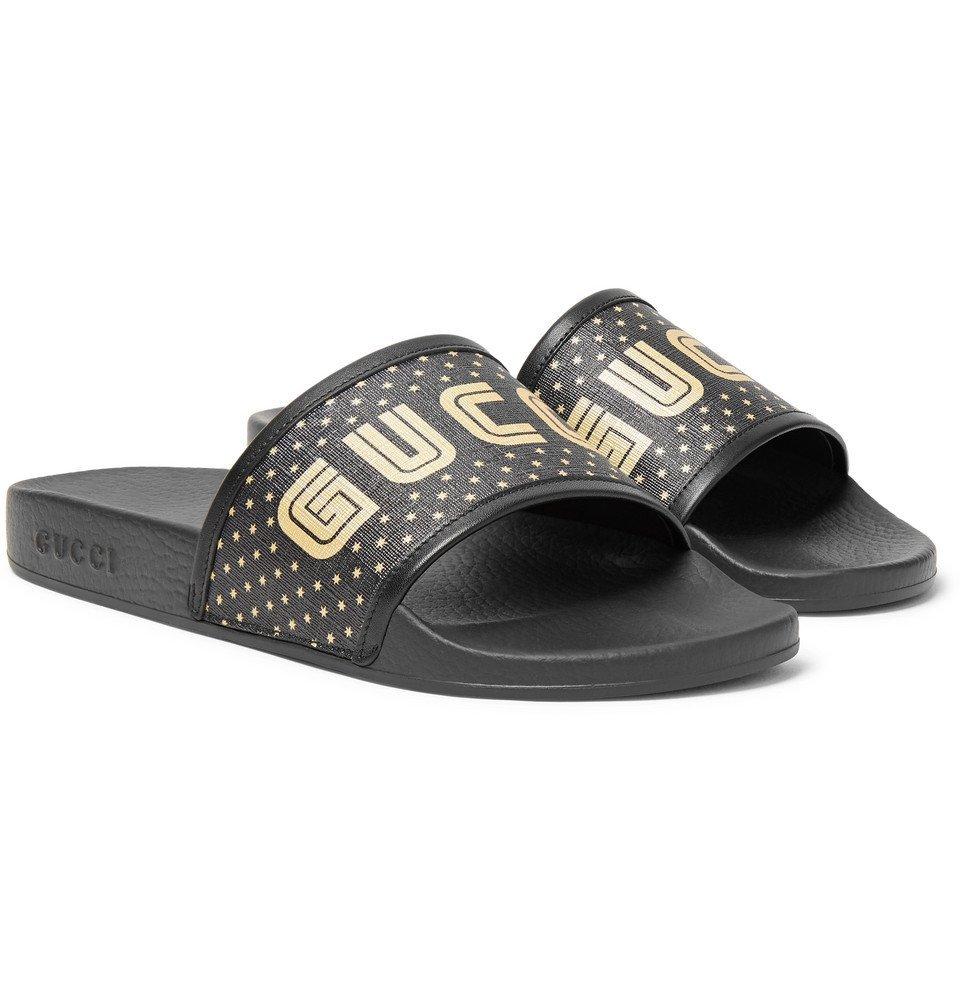 bc78c7532 Gucci - Leather-Trimmed Logo-Print Rubber Slides - Men - Black Gucci