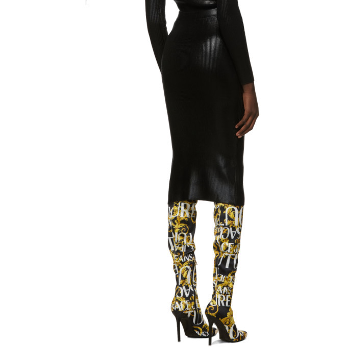 Versace Jeans Couture Black Lame Slit Skirt