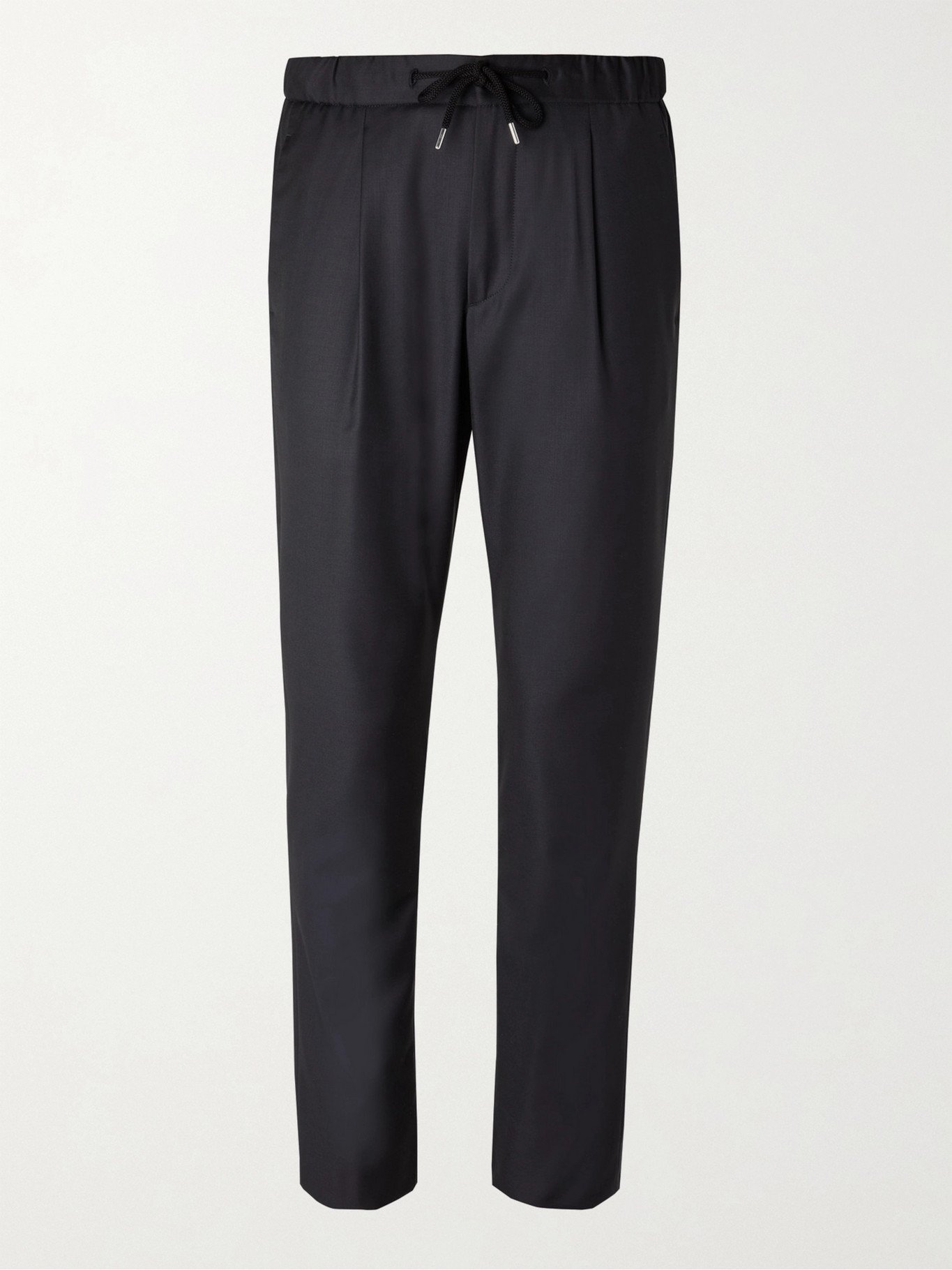 GIORGIO ARMANI - Virgin Wool and Cashmere-Blend Drawstring Trousers - Blue