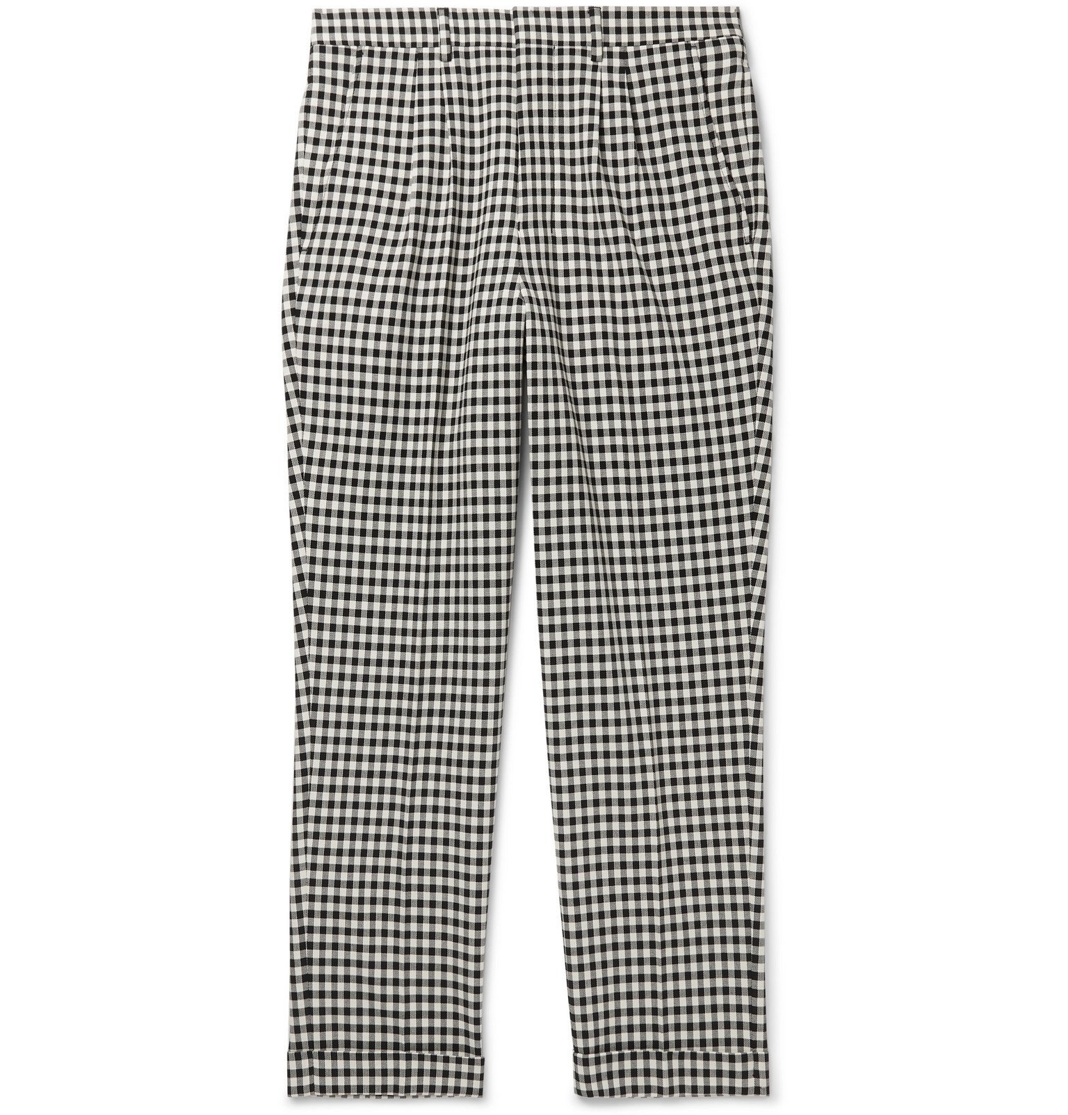 Photo: AMI - Slim-Fit Tapered Cropped Checked Cotton-Gabardine Trousers - Black