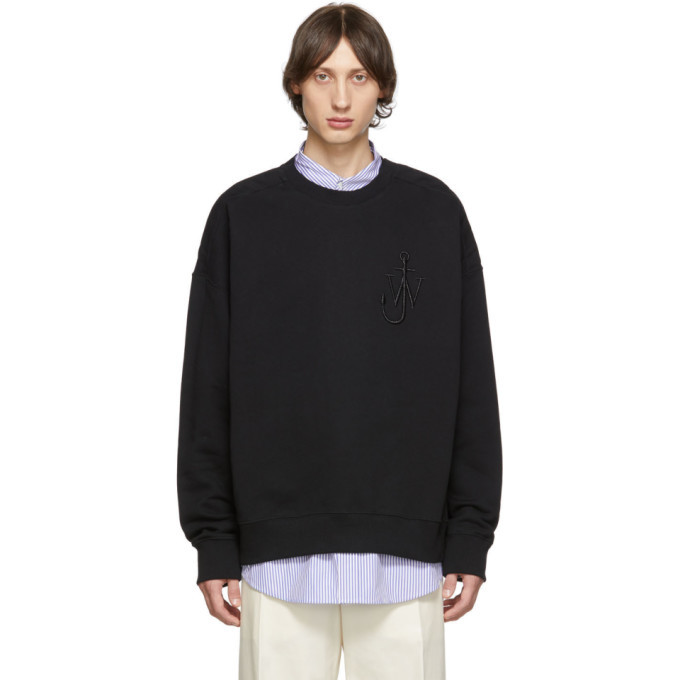 Photo: JW Anderson Black Oversized Shoulder Placket Sweatshirt