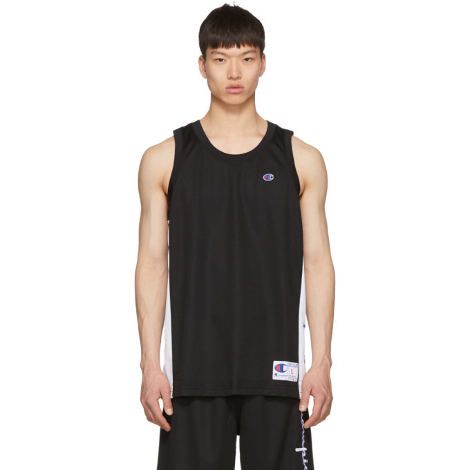 Photo: Champion Reverse Weave Black and White Mesh Logo Tank Top