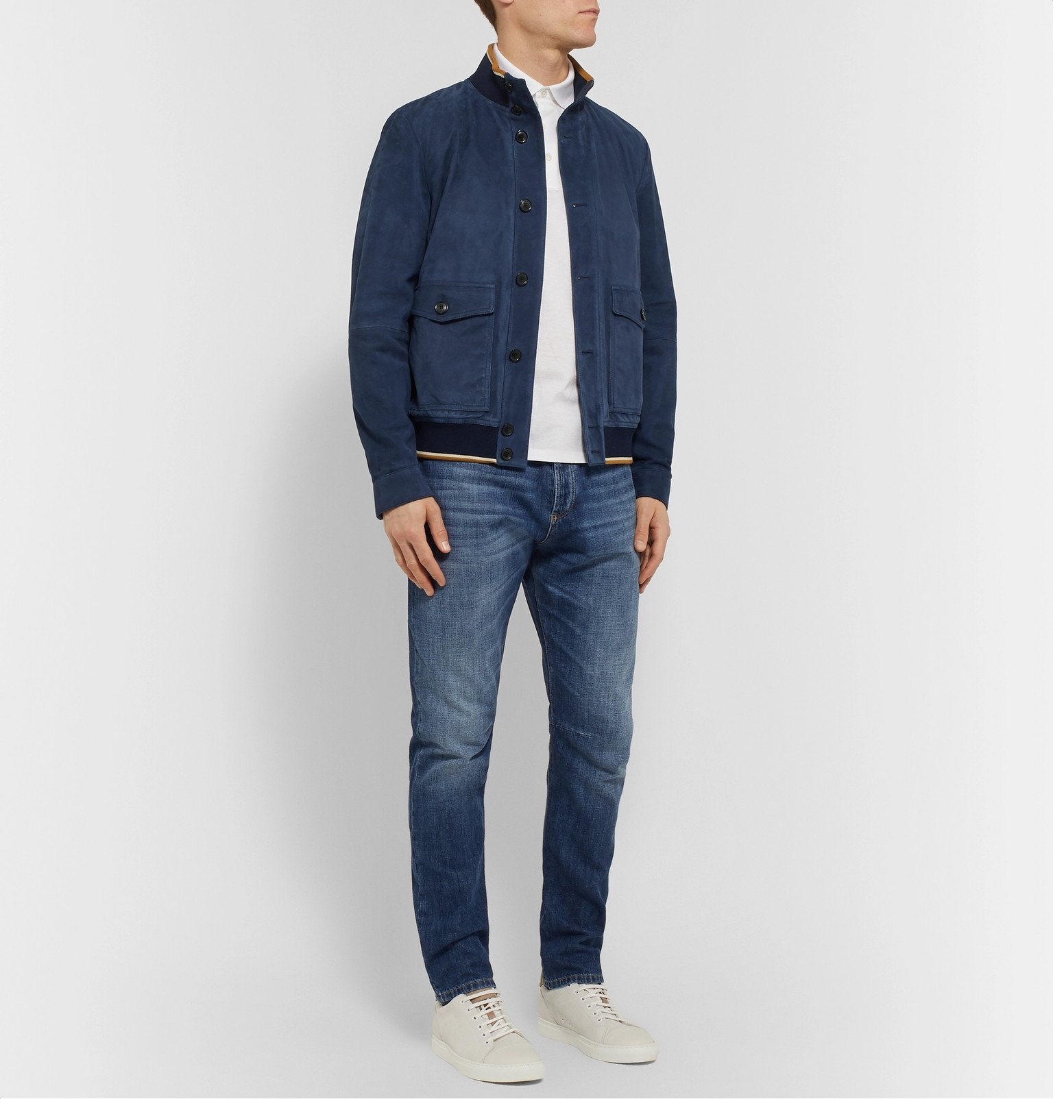 Tod's - Suede Bomber Jacket - Blue