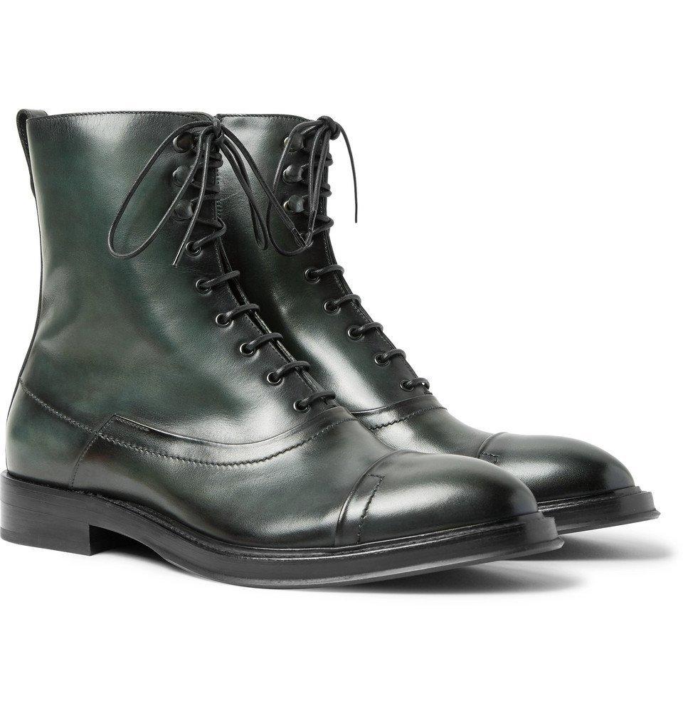 Photo: Berluti - Eris Bergen Leather Boots - Men - Dark green