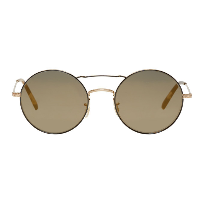 Oliver Peoples Gold and Black Nickol Sunglasses