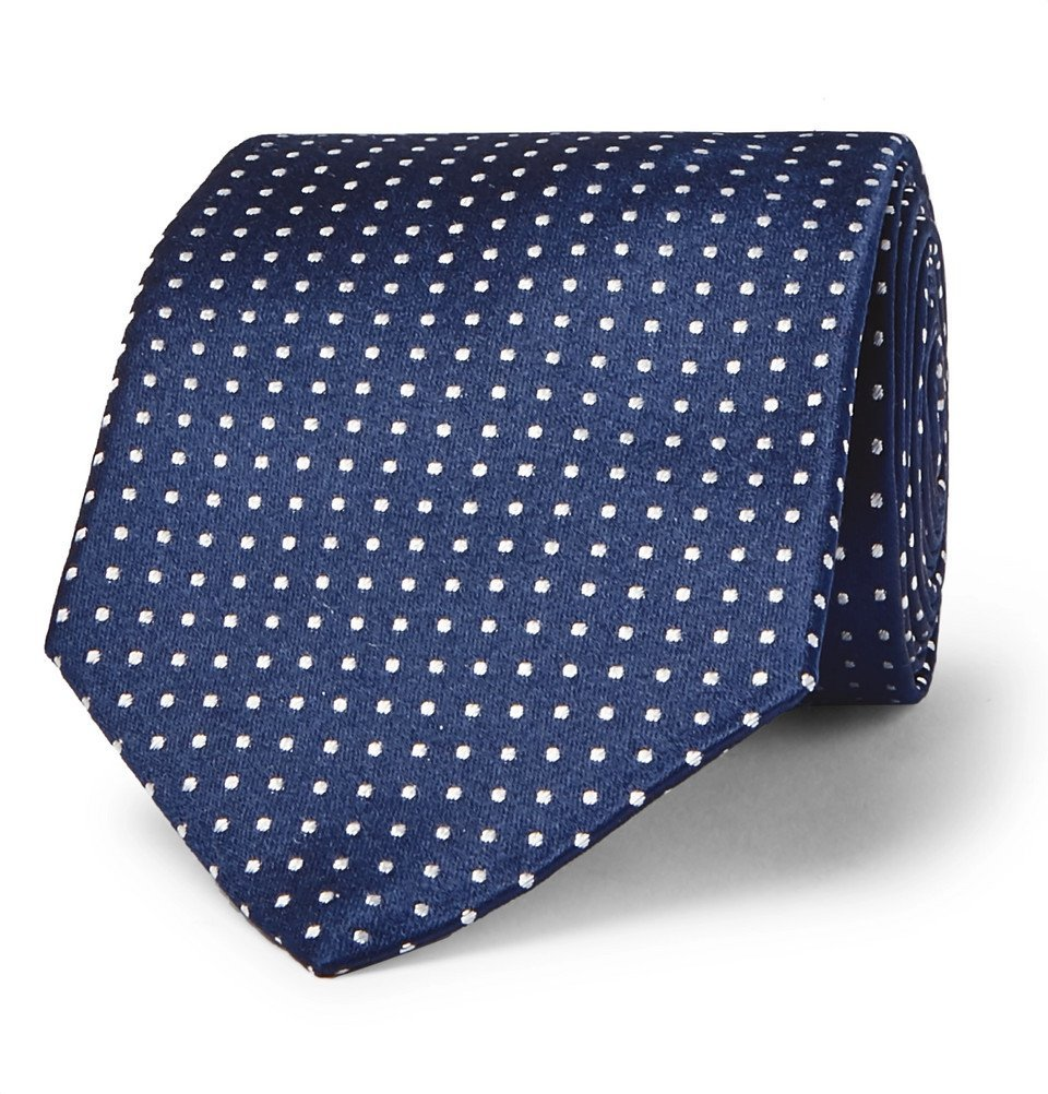 Photo: Canali - 8cm Pin-Dot Silk Tie - Navy