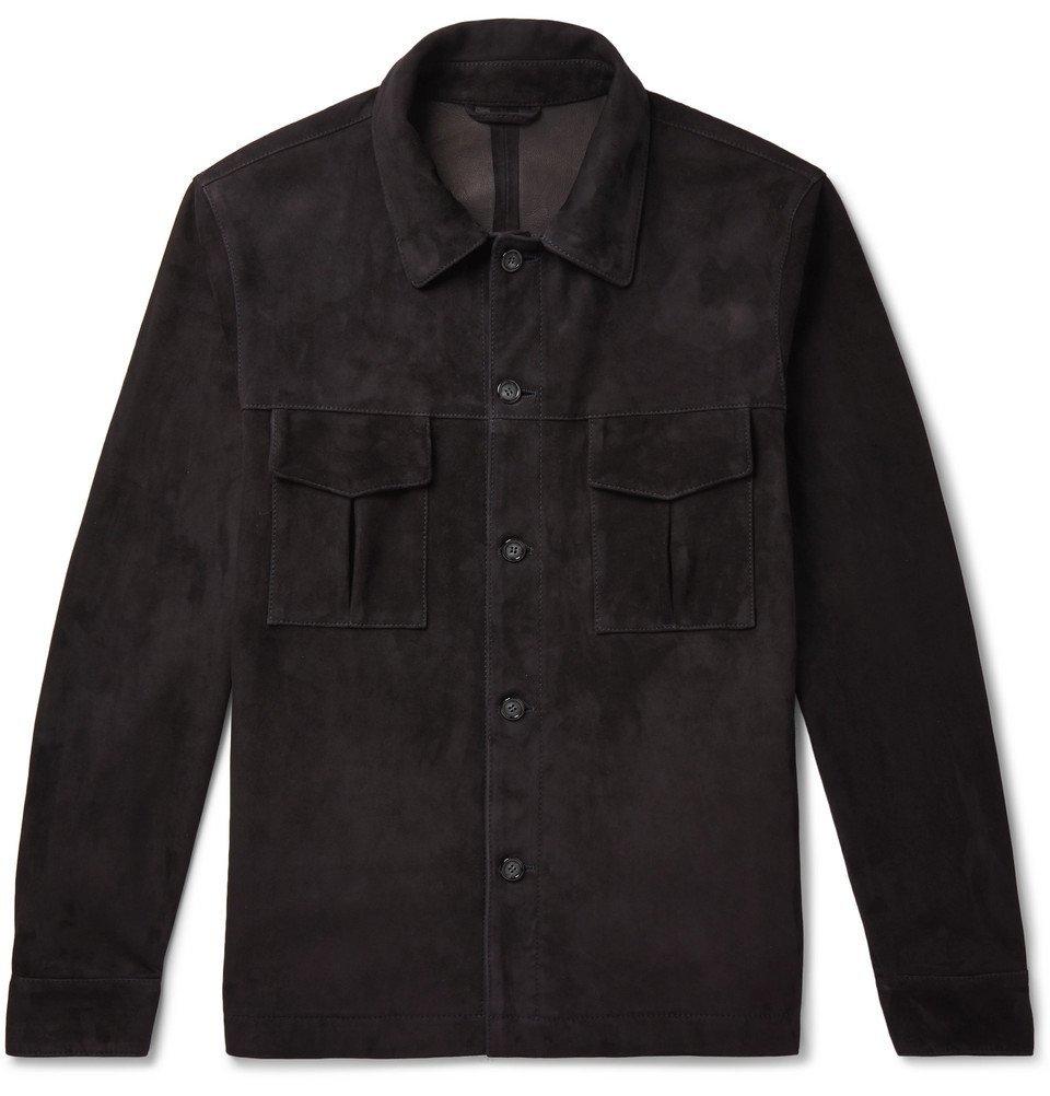 Photo: Valstar - Slim-Fit Unlined Suede Shirt Jacket - Navy