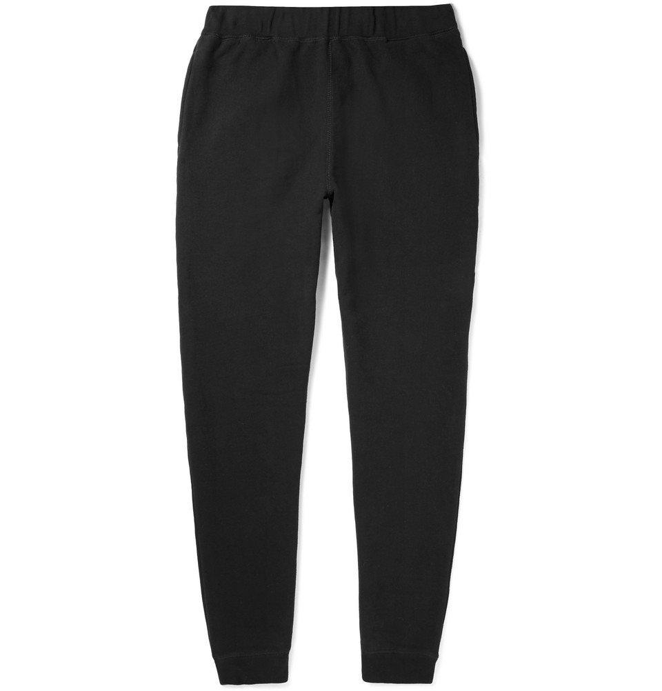 Sunspel - Tapered Brushed Loopback Cotton-Jersey Sweatpants - Men - Black