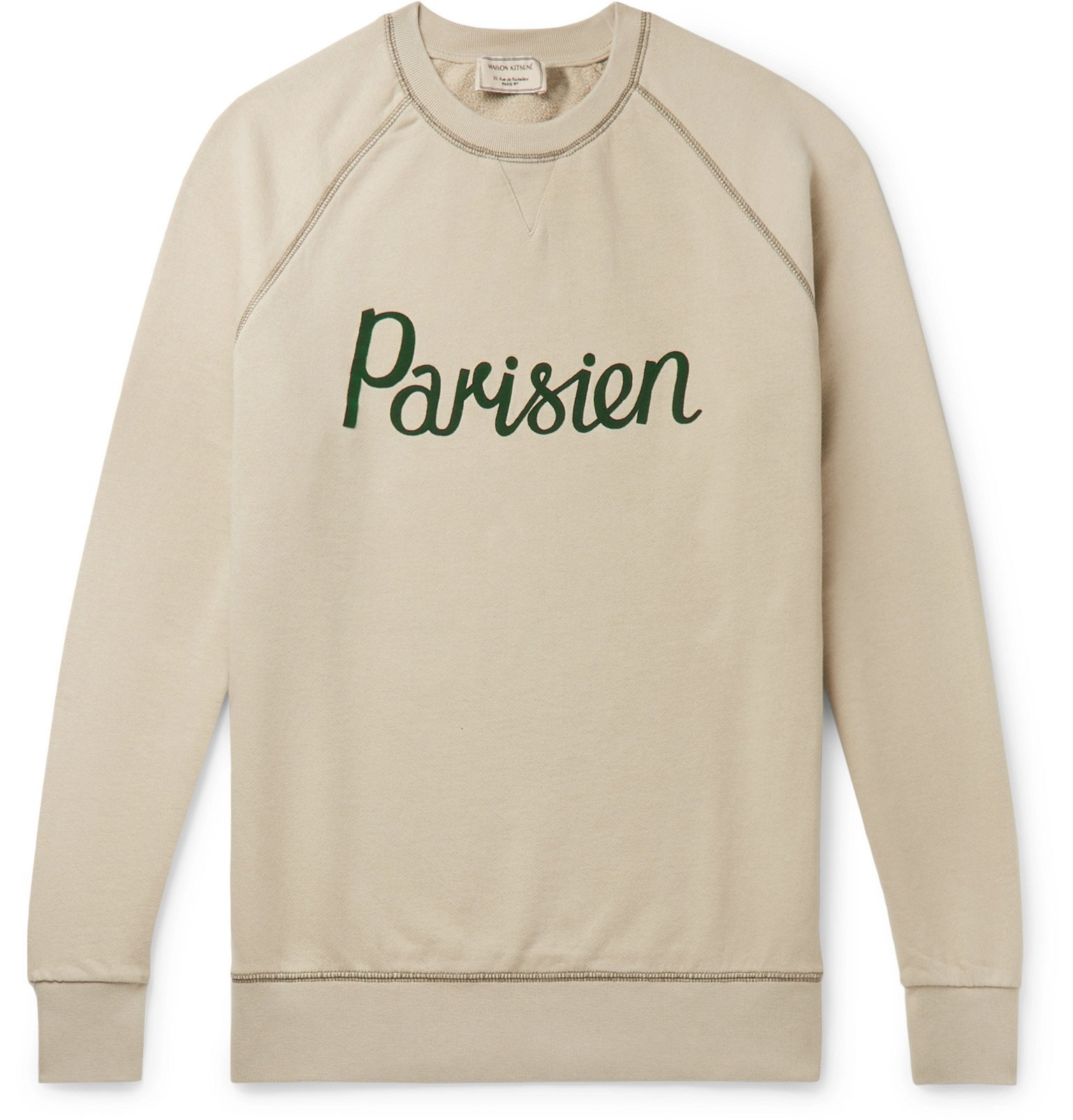 Photo: Maison Kitsuné - Appliquéd Loopback Cotton-Jersey Sweatshirt - Neutrals