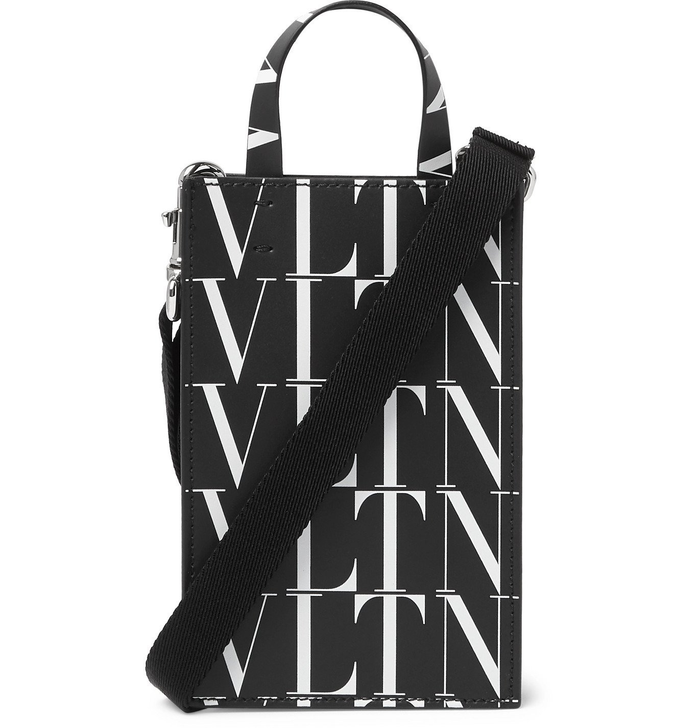 Photo: Valentino - Logo-Print Leather Pouch With Lanyard - Black