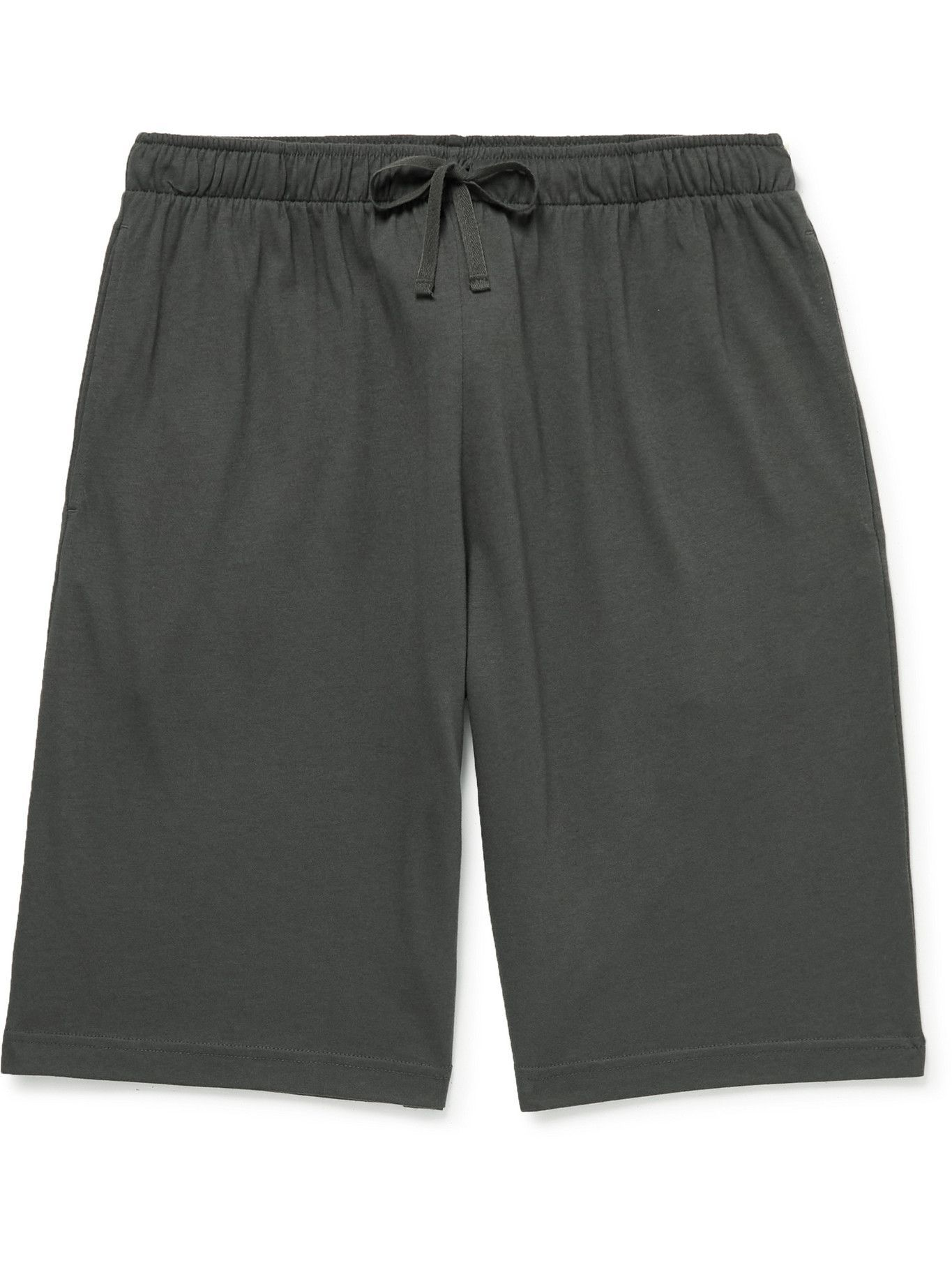 Photo: Sunspel - Lounge Cotton and Modal-Blend Jersey Drawstring Shorts - Gray