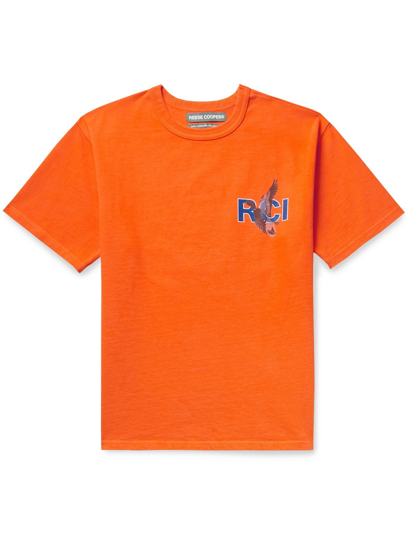 Photo: REESE COOPER® - Printed Cotton-Jersey T-shirt - Orange - S