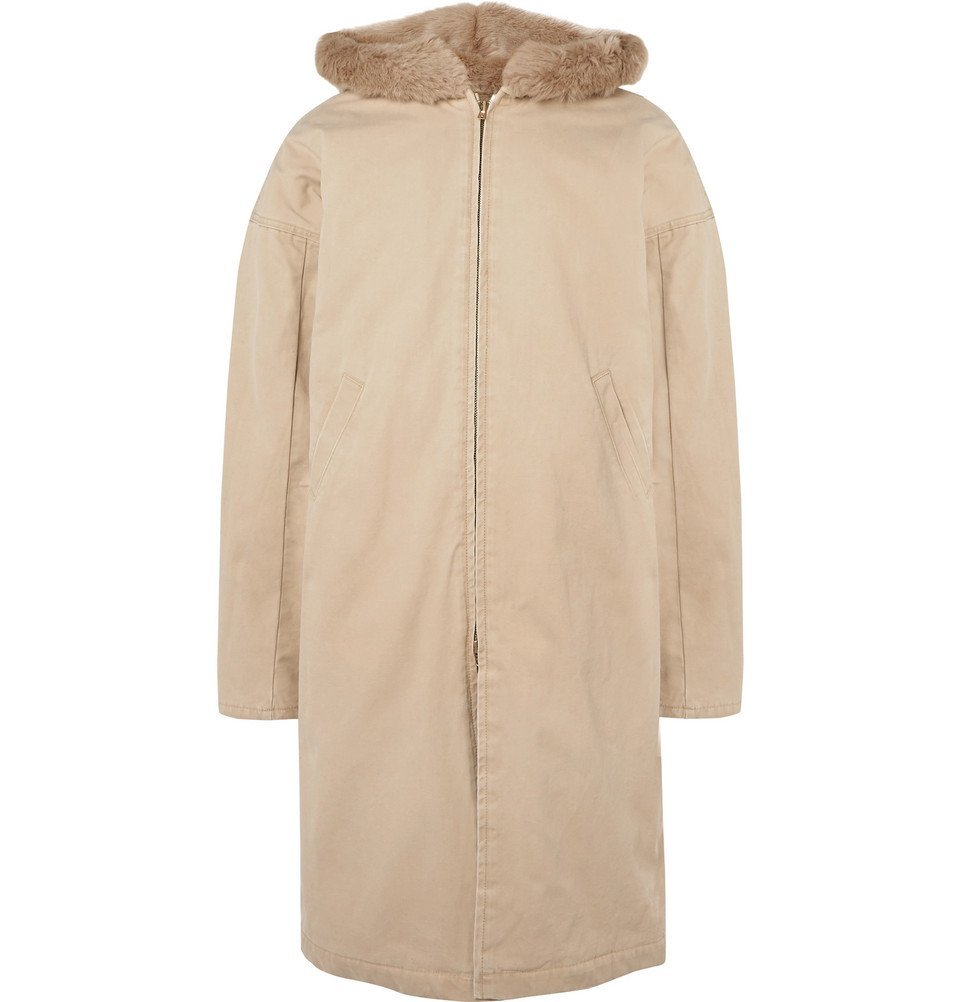 Photo: Fear of God - Faux Fur-Lined Cotton-Canvas Hooded Coat - Beige