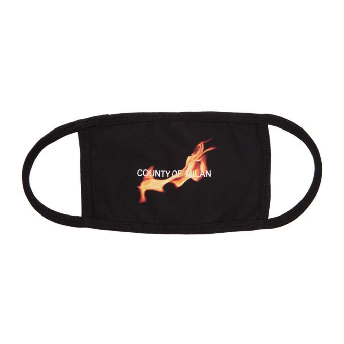 Photo: Marcelo Burlon County of Milan Black Flame Logo Mask
