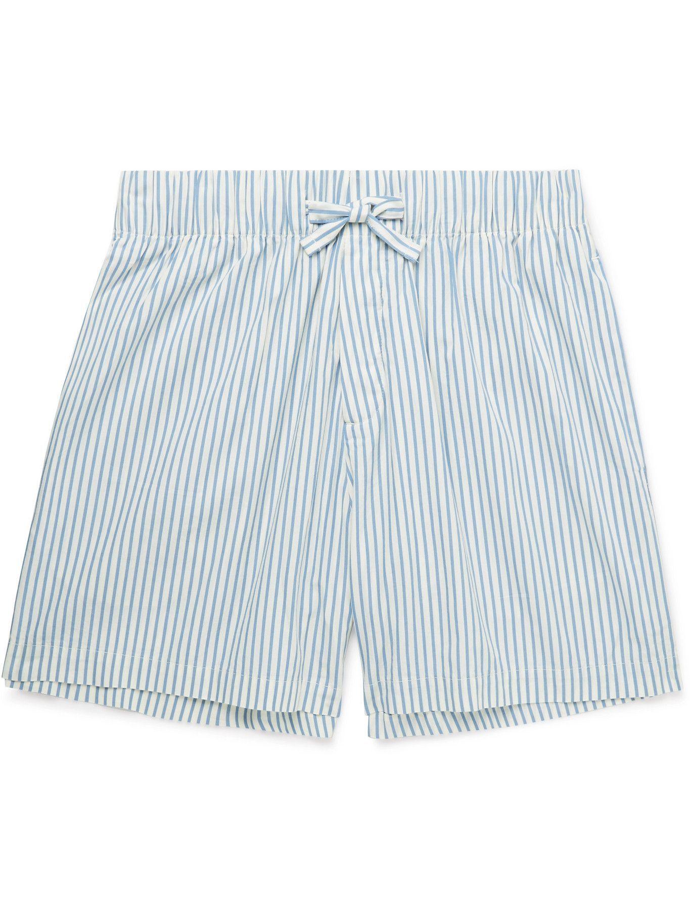 Photo: TEKLA - Striped Organic Cotton-Poplin Pyjama Shorts - Blue