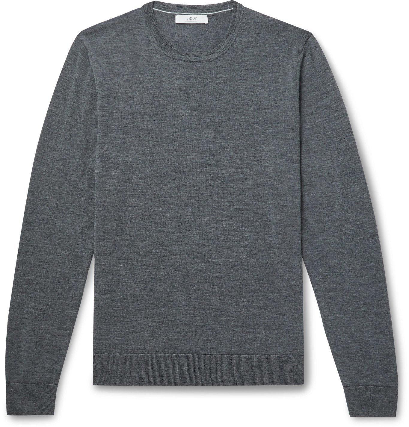 Photo: Mr P. - Slim-Fit Merino Wool Sweater - Gray