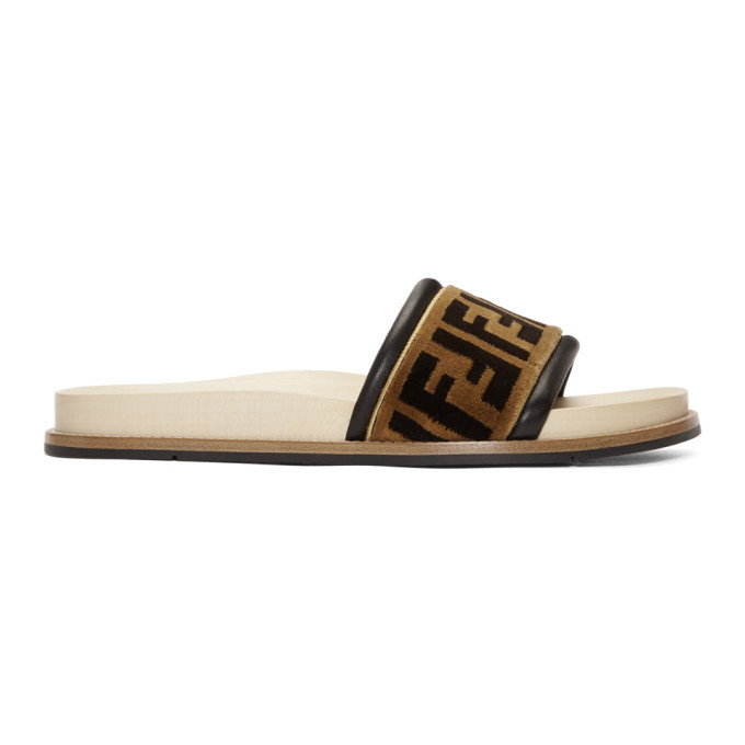 Photo: Fendi Brown Velvet Forever Fendi Slides